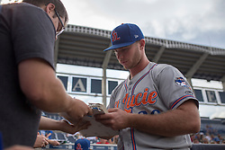 August 10, 2017 - Florida, U.S. - CHARLIE KAIJO   |   Times.St. Lucie Mets designated hitter Peter Alonso (20) signs autographs ahead of a game against the Tampa Yankees at Steinbrenner Field Tampa, Fla. on Thursday, August 10, 2017. (Credit Image: © Charlie Kaijo/Tampa Bay Times via ZUMA Wire)