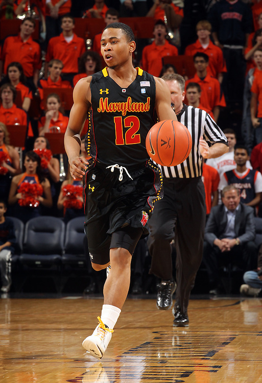 Jan. 27, 2011; Charlottesville, VA, USA; Maryland Terrapins guard Terrell Stoglin (12) drives down court during the game against the Virginia Cavaliers at the John Paul Jones Arena. Mandatory Credit: Andrew Shurtleff