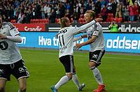 Fotball Tippeligaen Rosenborg - Sarpsborg 08<br /> 2 august 2015<br /> Lerkendal Stadion, Trondheim<br /> <br /> <br /> Alexander Søderlund (H) har scoret 3-2 for Rosenborg og blir matchvinner, og her gratuleres han av Tobias Mikkelsen<br /> <br /> <br /> <br /> Foto : Arve Johnsen, Digitalsport