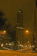 Smith Tower at 506 2nd Ave in Seattle, at 2nd and Yesler, in Pioneer Square, with snow covered streets, is barely occupied.