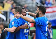 01/13/2018. Orlando, USA.  <br /> <br /> RANGERS FC v CORINTHIANS  2018 Florida Cup.  <br /> <br /> Rangers Alfredo Morelos celebrates with Jamie Murphy and Daniel Candeias after scoring during THE 2018 FLORIDA CUP match between RANGERS FC and CORINTHIANS.<br /> <br /> At  Spectrum Stadium, Orlando.<br /> Pic: Mark Davison /PLPA