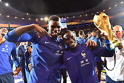 September 9, 2018 - Paris, France - Paul Pogba, N'Golo Kante of France celebrate with the World Cup Trophy after the UEFA Nations League A group official match between France and Netherlands at Stade de France on September 9, 2018 in Paris, France. This is the first match of the French football team at the Stade de France since their victory in the final of the World Cup in Russia. (Credit Image: © Mehdi Taamallah/NurPhoto/ZUMA Press)