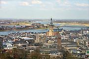 Nederland, Nijmegen: 1-4-2016 Uitzicht op het centum van Nijmegen . de stevenskerk, rivier de waal en de nieuwe nevengeul en spiegelwaal zijn te zien  FOTO: FLIP FRANSSEN/ HH