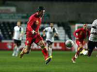 Pictured: Gareth Bale of Wales during his run to score his opening goal. Wednesday 06 February 2013..Re: Vauxhall International Friendly, Wales v Austria at the Liberty Stadium, Swansea, south Wales.