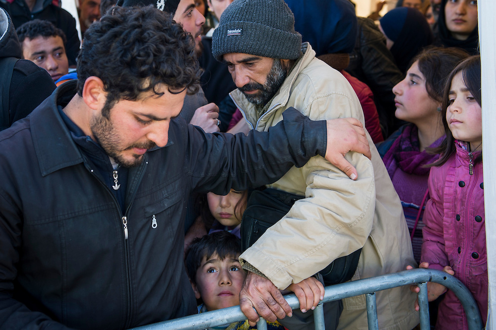 March 5, 2016 - Idomeni, Greece: Refugees wait hours before they can attempt a  border crossing. Make shift camp at the  Idomeni border crossing in Greece. 13,000 refugees are stuck here after Macedonia closed the border. New arrivals come in every day, making living conditions more and more difficult, so that the local government asked the emercency state was declared . (Steven Wassenaar/Polaris)