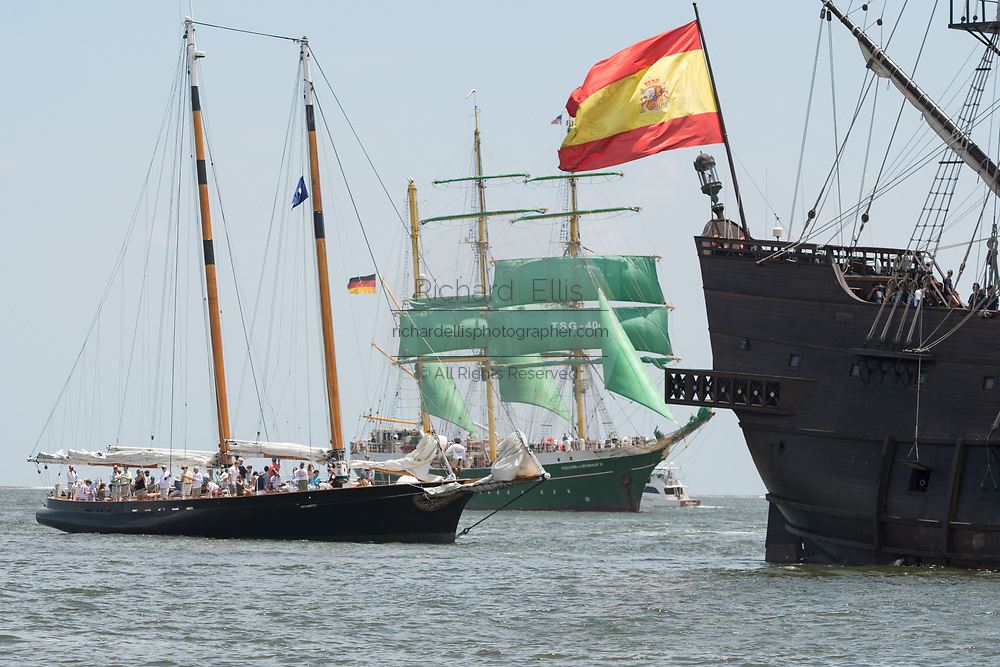 The Spanish Galleon Andalucia, right, the German Barque Alexander von Humboldt II, center, and the American Schooner America 2.0, left, during the parade of sails kicking off the Tall Ships Charleston festival May 18, 2017 in Charleston, South Carolina. The festival of tall sailing ships from around the world will spend three-days visiting historic Charleston.