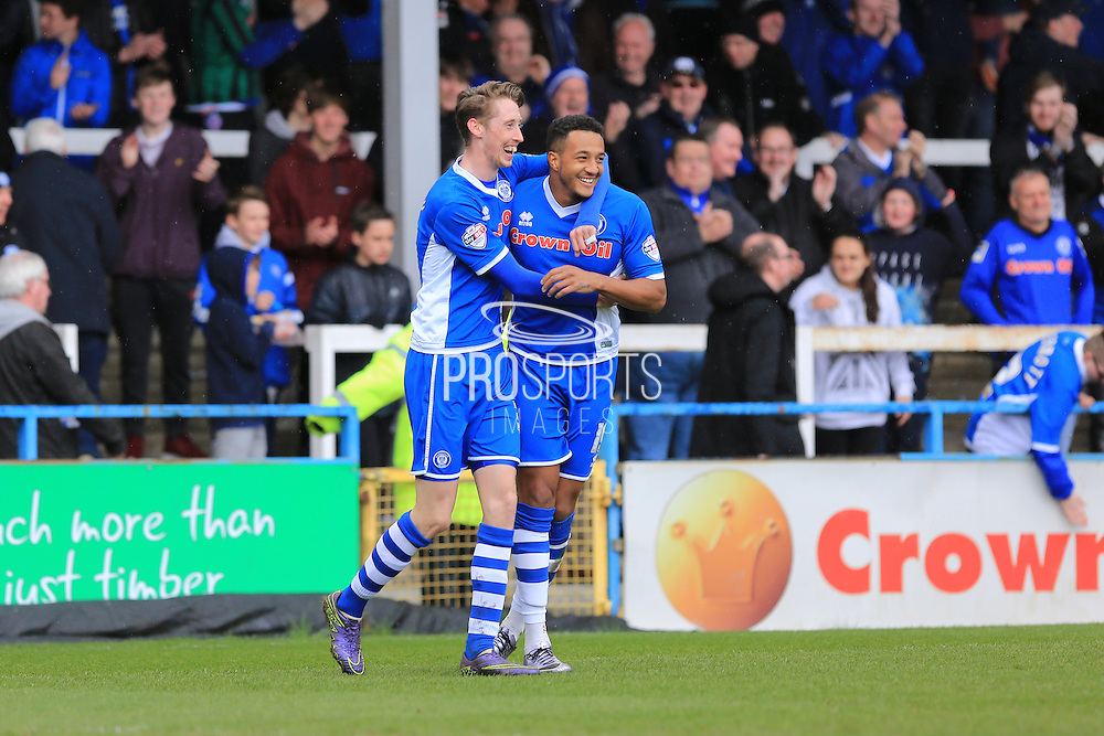 Joe Bunney & Nathaniel Mendez-Laing celebrate Bunney goal 2-0 during the Sky Bet League 1 match between Rochdale and Blackpool at Spotland, Rochdale, England on 16 April 2016. Photo by Daniel Youngs.