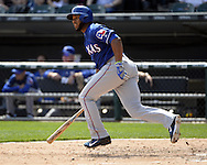 CHICAGO - APRIL 24:  Elvis Andrus #1 of the Texas Rangers bats against the Chicago White Sox on April 24, 2016 at U.S. Cellular Field in Chicago, Illinois.  The White Sox defeated the Rangers 4-1.  (Photo by Ron Vesely)   Subject: Elvis Andrus