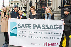 London, March 7th 2017. Public figures including Juliet Stevenson, Toby Jones, Rhys Ifans, Joely RIchardson and Vanessa Redgrave, faith leaders from the Jewish and Christian communities, MPs and Lord Dubs gather at Parliament to appeal to MPs to re-consult with local authorities to save the 'Dubs Scheme', to accommodate vulnerable refugee children from Europe. PICTURED: L-R Joely Richardson, Rhys Ifans, Tracy Seaward, Juliet Stevenson, unknown, and Toby Jones