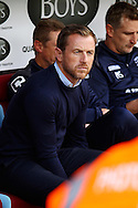 Birmingham City Manager Gary Rowett takes his seat in the dugout before k/o. Skybet football league championship match, Burnley  v Birmingham City at Turf Moor in Burnley, Lancs on Saturday 15th August 2015.<br /> pic by Chris Stading, Andrew Orchard sports photography.