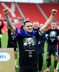 Sheffield United's captain Billy Sharp celebrates his sides promotion to the Premier League.
