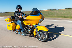 Sioux Falls HOG chapter member Lyle Grenz on his 2012 FLTRX for the USS South Dakota submarine flag relay across South Dakota on the first day from Sturgis to Aberdeen. SD. USA. Saturday October 7, 2017. Photography ©2017 Michael Lichter.