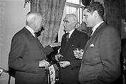 05/05/1965<br /> 05/05/1965<br /> 05 May 1965<br /> Hennessy Press reception at the Gresham Hotel, Dublin to announce the company's plans for sports sponsorship that year. Pictured at the event were (l-r) Mr. Maurice Hennessy, Chairman, Jos. Hennessy and Co.; Mr. John Keane, Chairman Irish Racing Board and Mr. Nigel Beamish, Director, Edward Dillon and Co. Ltd..