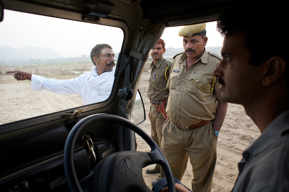 Dharmendra  Khandal of Tiger Watch (right) runs into police on a field visit to agricultural communities living beside the Banas river on the edge of Rantambore National Park. Many of these communities illegally graze goats and collect firewood from the park. ..Sariska National Park in Rajasthan was once home to dozens of tigers but by 2005 poaching had resulted in their complete eradication. Recognising the urgent need for intervention, the Indian and Rajasthan-state governments began the reintroduction of tigers into Sariska. Two cats were airlifted 200 km from Ranthambore National Park in June 2008. On November 5th an attempt to relocate a third tiger was postponed until later in the month. This relocation strategy is certainly an important part of the tiger conservation effort but many, including those like Dharmendra Khandal of the NGO Tiger Watch, argue that it will never be entirely successful without properly confronting the three essential issues that threaten tiger populations: poaching, habitat loss and the hunting of prey-base animals. In turn, these three issues cannot be addressed without acknowledging the malign influence of caste, poverty and poor administrative accountability. Poaching is almost exclusively undertaken by extremely poor and marginalised groups, including the Mogia caste who, without education, land and access to credit have limited alternative means of income. Many in the Mogia community also hunt bush meat for both their own consumption and to sell to others. This results in a depletion of the prey-base upon which tigers feed. Encroachment and grazing by those including the Gujar people who raise dairy herds, have led to habitat loss in Sariska and other parks. To properly tackle the problem of hunting and encroachment, the government must provide alternative livelihoods for marginalised groups and relocate them to viable land before - rather than after - the re-introduction of tigers. Compounding all these issues is the ridged hier
