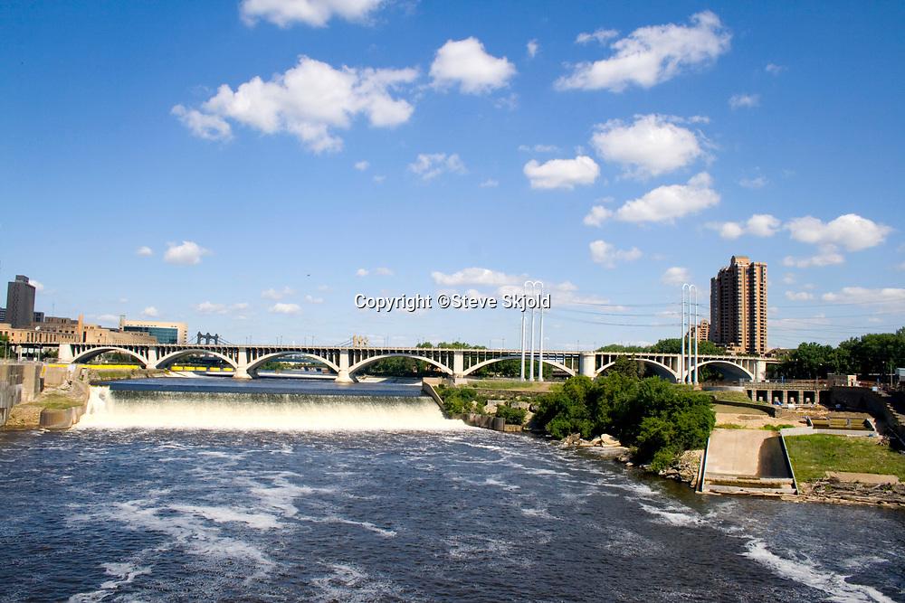 St. Anthony Falls on the Mississippi River. Minneapolis Minnesota MN USA