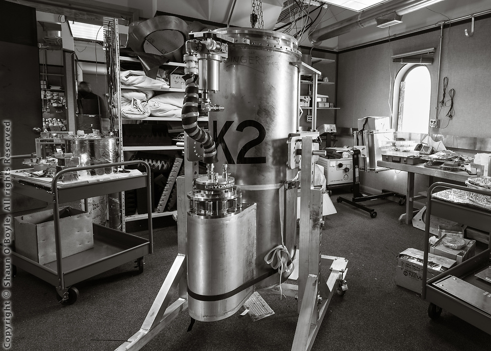 One of the receivers that had been removed from the Keck Array Telescope inside the MAPO Lab.