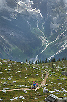 Hikers on Abbott Ridge Trail. Selkirk Mountains Glacier National Park British Columbia