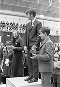 Young Scientist Exhibition .1971.8/1/71.1/8/71.The Aer Lingus Young Scientist of the Year Exhibition at the RDS..L-R Joyce Greene, (runner up) Peter Shortt, (Young Scientist of the Year) and Peter Duggan.(runner up). .