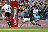 Jamie Shaul dives over to score for Hull with only five minutes left to play during the Challenge Cup Final 2016 match between Warrington Wolves and Hull FC at Wembley Stadium, London, England on 27 August 2016. Photo by Craig Galloway.