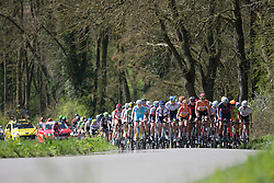 The peloton chases the breakaway in the first lap of the Flèche Wallonne Femmes - a 137km road race from starting and finishing in Huy on April 20, 2016 in Liege, Belgium.