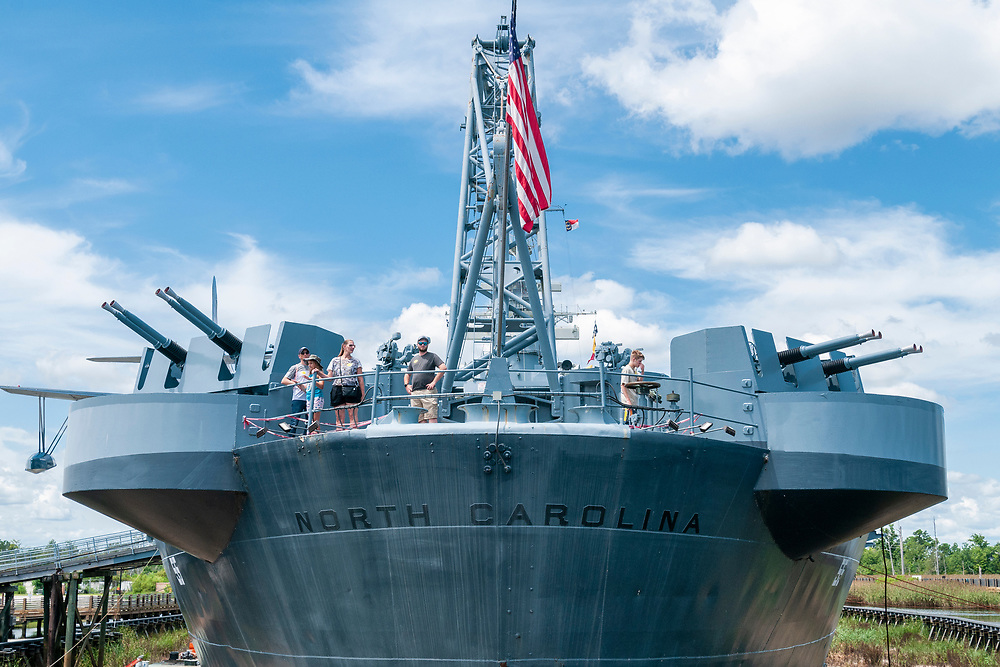 View of the battleship from the SECU Memorial Walkway at the Battleship North Carolina in Wilmington, North Carolina on Friday, August 13, 2021. Copyright 2021 Jason Barnette