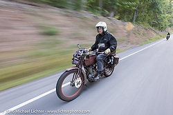 Victor Boocock of CA on his 1914 Harley-Davdison during the Motorcycle Cannonball Race of the Century. Stage-2 from York, PA to Morgantown, WV. USA. Sunday September 11, 2016. Photography ©2016 Michael Lichter.