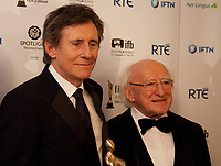 Gabriel Byrne and The President of Ireland, Michael D. Higgins with the Lifetime Achievement Award at the IFTA Film & Drama Awards (The Irish Film & Television Academy) at the Mansion House in Dublin, Ireland, Thursday 15th February 2018. Photographer: Doreen Kennedy