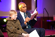 07/04/2019 repro free:  Peter Lowry 2nd Class Portumna NS with MC Paul Sleem at Write a Book organised by The Galway Education centre and help at the Salthill Hotel  . Photo: Andrew Downes, Xposure
