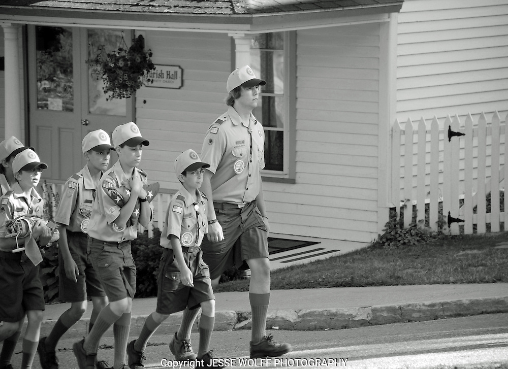 Some very serious Boy Scouts on parade on Mackinac Island, MI.