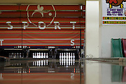 track in a bowling alley with straight up standing pins