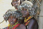 Africa, Ethiopia, Omo Valley, two Daasanach tribe women