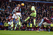 Fernando of Manchester city © heads towards goal. Barclays Premier league match, Aston Villa v Manchester city at Villa Park in Birmingham, Midlands  on Sunday 8th November 2015.<br /> pic by  Andrew Orchard, Andrew Orchard sports photography.