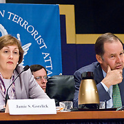 "Jamie Gorelick (left) and Thomas Kean (right). Panel: FAA Response on 9/11. The 9/11 Commission's 12th public hearing on ""The 9/11 Plot"" and ""National Crisis Management"" was held June 16-17, 2004, in Washington, DC."