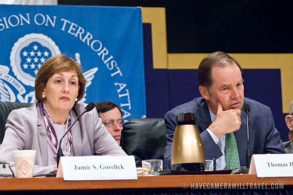 """Jamie Gorelick (left) and Thomas Kean (right). Panel: FAA Response on 9/11. The 9/11 Commission's 12th public hearing on """"The 9/11 Plot"""" and """"National Crisis Management"""" was held June 16-17, 2004, in Washington, DC."""