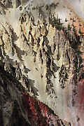 Views of the colourful rock formations in Yellowstone Grand Canyon, taken from the walk between Artist Point and Point Sublime; there was fresh bear scat so we stayed along the South Rim path and didn't venture inland towards Ribbon Lake