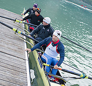 Aiguebelette, FRANCE.  GBR LM4-. Bow, Peter CHAMBERS, Mark ALDRES, Richard CHAMBERS and Chris BARTLEY, suitably dressed for their early morning training session, at the 2014 FISA World Cup II, 06:30:48  Saturday  21/06/2014. [Mandatory Credit; Peter Spurrier/Intersport-images]