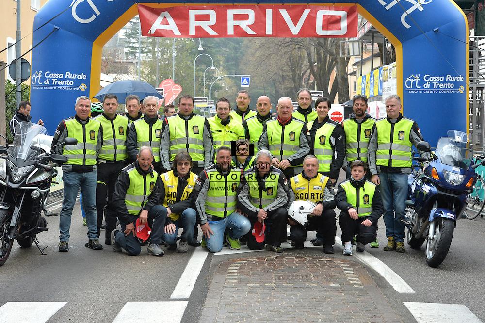Gara ciclistica per la Categoria Allievi Coppa Luca De Boni e Trofeo Enzo Moser, le moto Staffette del Moto Club Trento,Trento 28 Marzo 2016 © foto Daniele Mosna