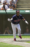 August 4, 2001 - Cleveland, Ohio - Cleveland Indians second baseman Roberto Alomar hits a double in a MLB game against the Seattle Mariners at Jacobs Field in Cleveland Ohio. Alomar was elected to the National Baseball Hall of Fame on Jan. 6, 2011.