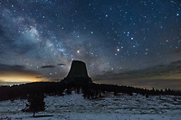 It was a cold and moist night at Devil's Tower with a few too many clouds. But the milky way was visible for a short time.