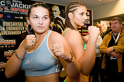 Christian Hammer of Germany and Mihaela Dragan of Romunia (L) at official weighing 1 Day before IBF World Champion title fight, on September 3, 2010, in Hotel Lev, Ljubljana, Slovenia. (Photo by Matic Klansek Velej / Sportida)