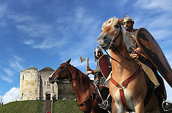 EMBARGOED TO 0001 SEPTEMBER 26 Re-enactors before setting off on a 300-mile march to Hastings from Clifford's Tower in York, echoing the journey King Harold made to fight in the Battle of Hastings, to mark the 950th anniversary of the famous clash.