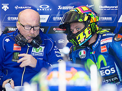 October 20, 2017 - Melbourne, Victoria, Australia - Italian rider Valentino Rossi (#46) of Movistar Yamaha MotoGP speaks with his mechanic's during the first free practice session of the MotoGP class at the 2017 Australian MotoGP at Phillip Island, Australia. (Credit Image: © Theo Karanikos via ZUMA Wire)