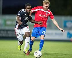 Falkirk's Ollie Durojaiye and Cowdenbeath's Iain Campbell.<br /> Falkirk beat Cowdenbeath in a penalty shoot-out, second round League Cup tie played at The Falkirk Stadium.