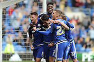 Cardiff City's Peter Whittingham (centre head down) celebrates with team mates after scoring his teams 2nd goal.  Skybet football league championship match, Cardiff city v Bolton Wanderers at the Cardiff city Stadium in Cardiff, South Wales on Saturday 23rd April 2016.<br /> pic by Carl Robertson, Andrew Orchard sports photography.