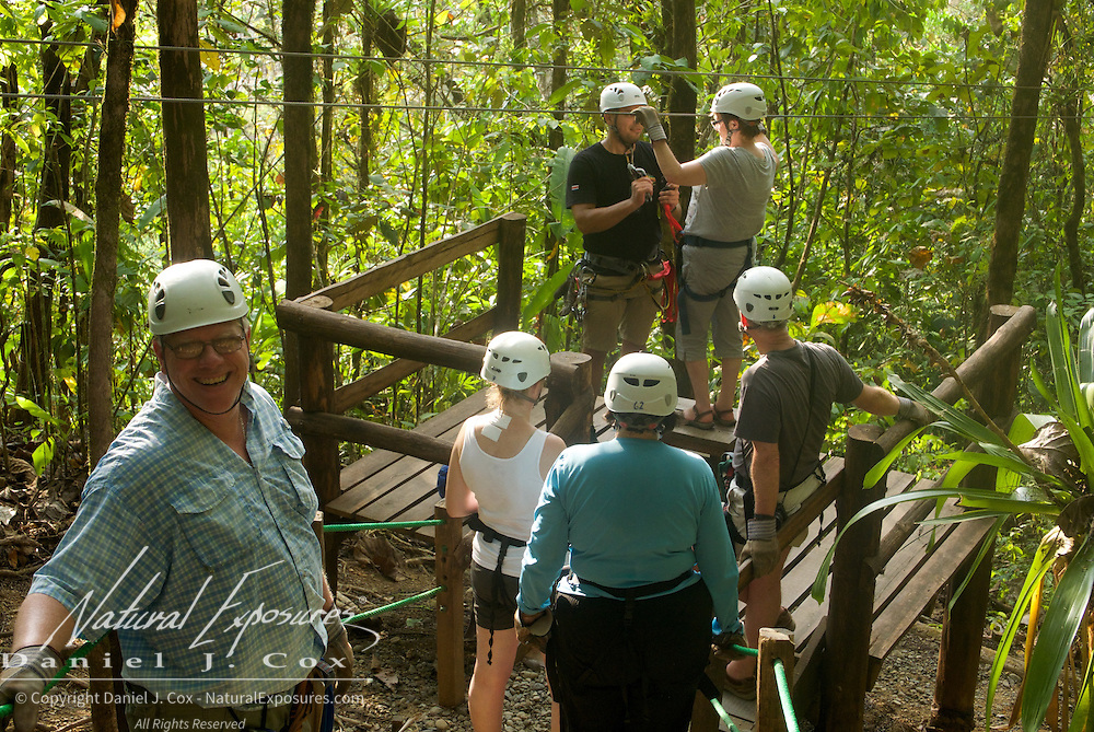 The zip line adventure crew includes Dan, Paul, Tish, Esteban, Tom, Carol, Christine and Heather. Costa Rice.