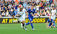 Andre Ayew of Swansea City beats James McCarthy of Everton to the ball in the second half.<br /> Barclays Premier League match, Swansea city v Everton at the Liberty Stadium in Swansea, South Wales on Saturday 19th September 2015.<br /> pic by Phil Rees, Andrew Orchard sports photography.