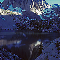 Temple Crag towers above Second Lake in Big Pine Canyon of California's Sierra Nevada.
