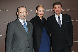 Patrick-Louis Vuitton (L) and actress Uma Thurman (C) poses prior to the Louis Vuitton Maison opening, Munich, Germany, on April 23, 2013, April 24, 2013. Photo by: Schneider-Press / i-Images. .UK & USA ONLY. .
