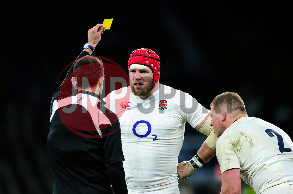 James Haskell of England is shown a yellow card by referee Romain Poite - Mandatory byline: Patrick Khachfe/JMP - 07966 386802 - 27/02/2016 - RUGBY UNION - Twickenham Stadium - London, England - England v Ireland - RBS Six Nations.