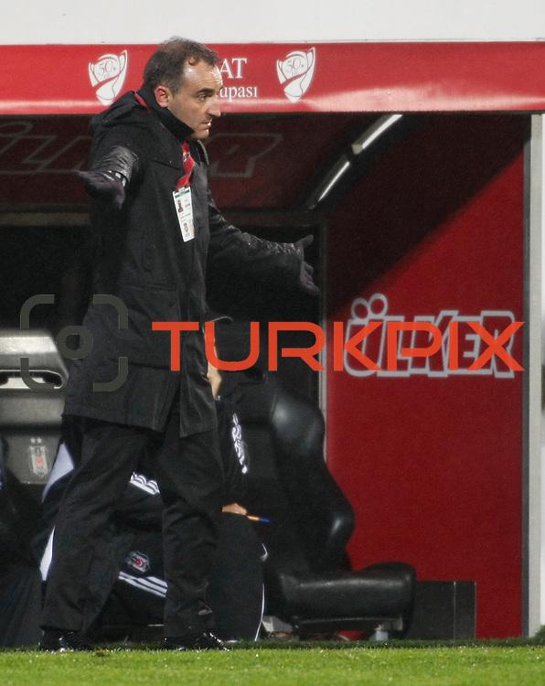 Besiktas's coach Carlos Carvalhal during their Turkey Cup matchday 3 soccer match Besiktas between Gaziantepspor BSB at the Inonu stadium in Istanbul Turkey on Wednesday 11 January 2012. Photo by TURKPIX